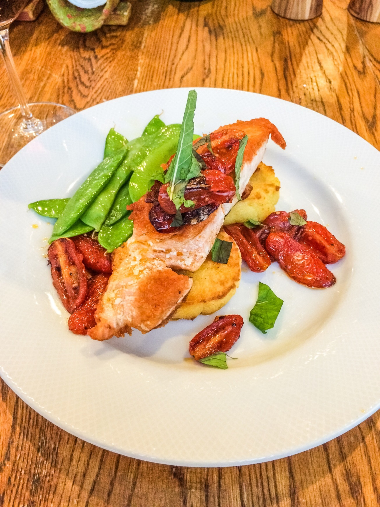 pan seared Verlasso salmon on Polenta cakes