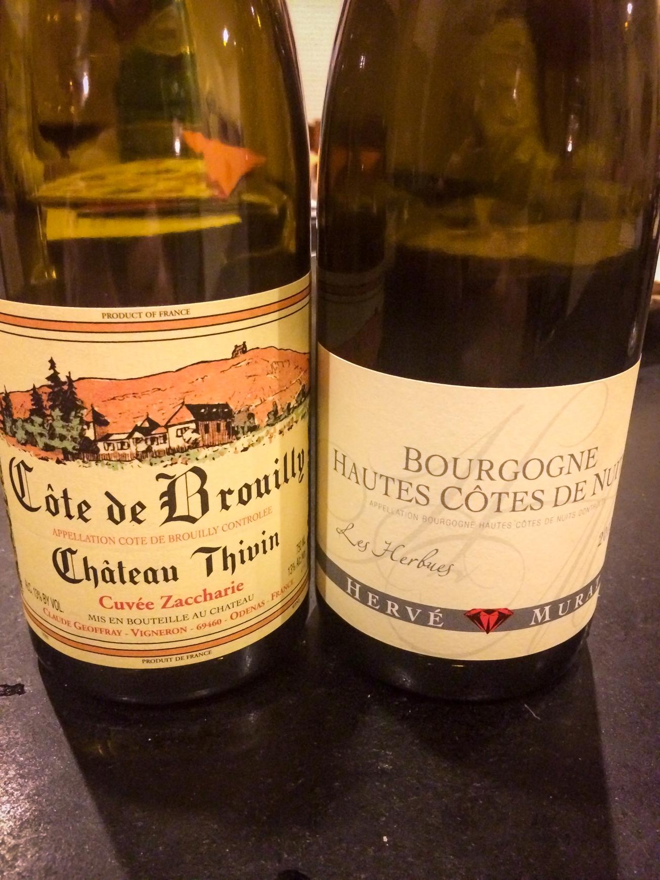 2012 Château Thivin Côte de Brouilly Cuvée Zaccharie Geoffray & 2012 Hervé Murat Bourgogne Hautes Côtes de Nuits Les Herbues