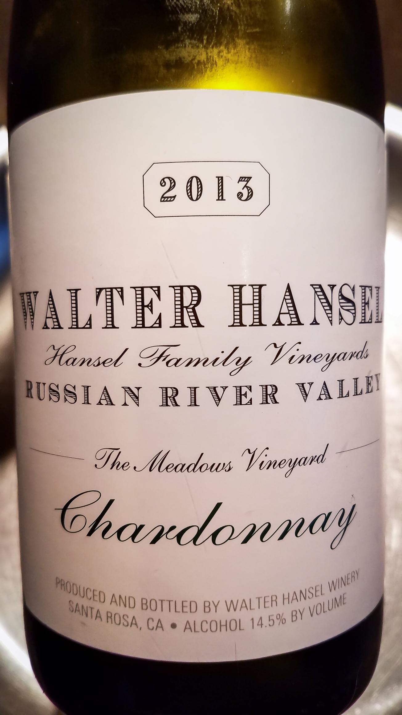 2013 Walter Hansel Winery Chardonnay The Meadows Vineyard