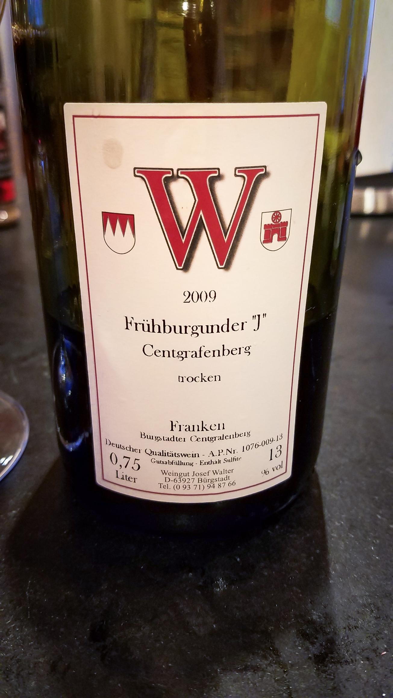 "2009 Josef Walter Bürgstadter Centgrafenberg Frühburgunder ""J"" trocken"