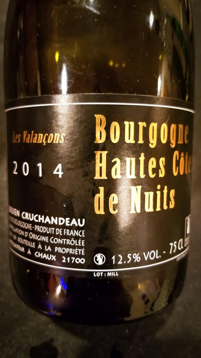 2014 Julien Cruchandeau Bourgogne Hautes-Côtes de Nuits Les Valançons